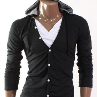 Mens Casual V Neck Layered Hood shirs Black D068