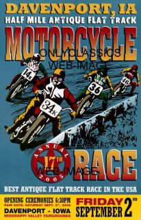 Racing Color Poster Old Harley Davidson Indian Merkel Cycles