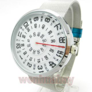 Cool New Quartz Metal Mesh Wrist Watch Mens Womens Turntable Dial