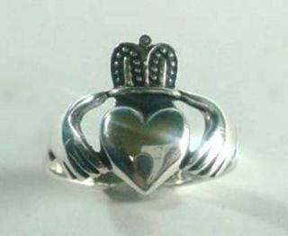 New Mens Sterling Silver Claddagh Celtic Ring Size 9