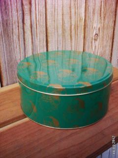 Green Gold Holiday Santa Claus Metal Cookie Tin with Lid
