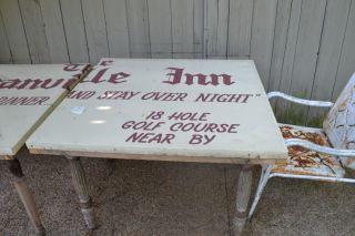 Table Ornate Wood Legs Granville Inn Metal Sign Garden Square