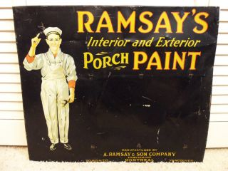 OLD Vintage PAINT Sign HOUSE RAMSAYS METAL Painter Carpenter Handy Man
