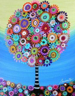 Mexican Folk Art Tree of Life Flower Blooms Prisarts Original Painting