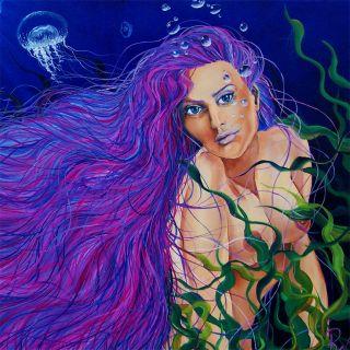 RW2 SHOWER CURTAIN Mermaid purple blue green cloth original art