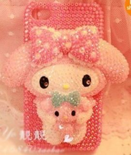 HOT Pink Cute Melody Bling DIY cell Phone For Iphone 4 4S 5 5G Case
