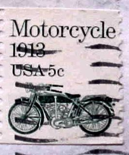 Cancelled 5 Cent US Postage Stamp Motorcycle 1913 22