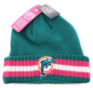 Miami Dolphins Breast Cancer Awareness Beanie Skull Cap Hat Made by