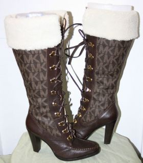 Michael Kors Brown Leather Logo and Fleece Boots Sz 8 5