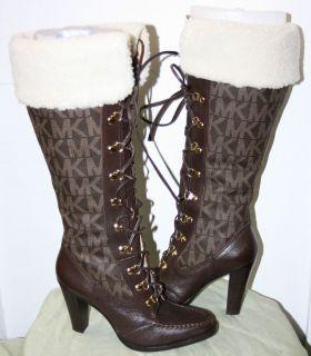Michael Kors Brown Leather Logo and Fleece Boots Sz 8 5