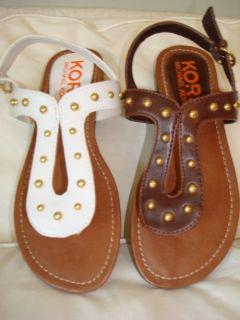 New Michael Kors Karli Sandals White Brown Many Sizes