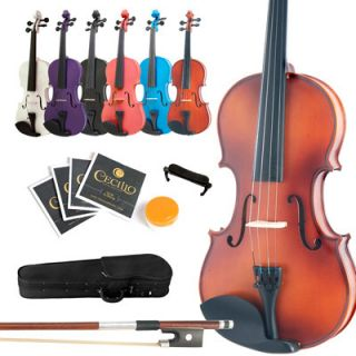 Mendini Student Violin ~Solid Wood Black Blue Pink Purple White +Case