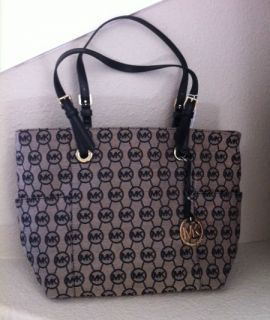 Michael Kors E w Signature Tote Jacquard Handbag Jet Set Purse Black A