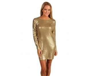 Michael Kors Camel Golden Metalic Sequin Dress Chic and Sexy Large