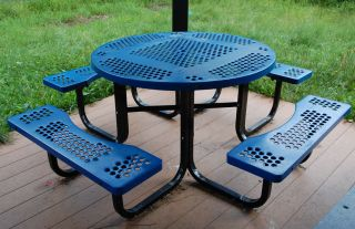 Commercial Round Portable Picnic Table Outdoor Park Furniture Blue