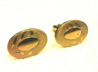 Mens Cufflinks Gold Tone Oval Shaped Preowned