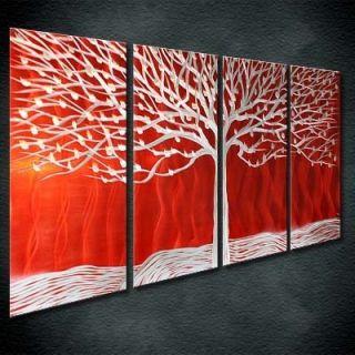 Abstract Original Silver Red Metal Wall Art Decor Tree Zenart