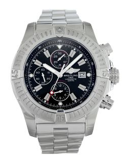 Breitling Super Avenger A13370 Automatic Steel Watch Black Baton Dial