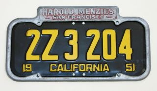 Harold Menzies Car Dealer San Francisco California License Plate Frame
