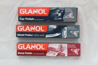 Glanol 3 Wenol Metal Polish Car Carnauba Ultra Soft