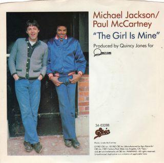 Michael Jackson Paul McCartney The Girl Is Mine PS Mint