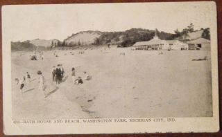 Michigan City in Bath House Beach Washington Park 1926 Postcard