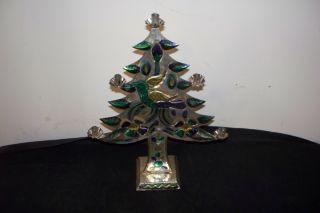 1950s Tin Aluminum Christmas Tree Mexican Folk Art Mexico 50s