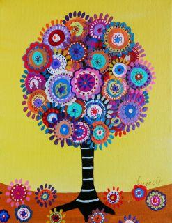 Mexican Folk Art Tree of Life Flowers Blooms Prisarts Original