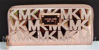 Michael Kors Logo Mirror Metallic Zip Around Continental Wallet Rose