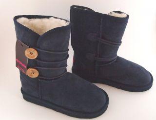 Amelia Kids Suede Leather Navy Blue Australian Merino Wool