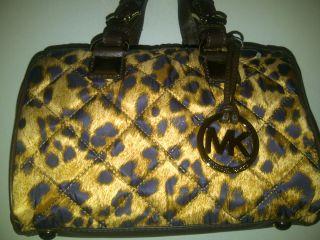 Michael Kors Grayson Small Brown Leopard Quilted Satchel Handbag (NEW