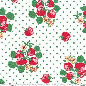 Helen, Michael Miller Kitchen, Strawberry Berry White Green Dot Red