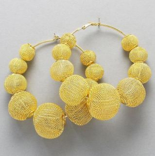 Wives Inspired Poparazzi Bling Mesh Ball Hoop Earrings Gold