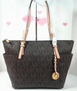 NEW 2012 Auth MICHAEL KORS E W Top Zip MK Logo PVC Tote Brown Tan Trim