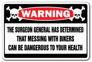 Messing with Bikers Warning Sign Biker Bar Signs Gift Cycles Gang