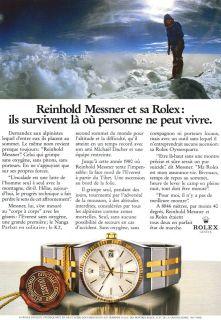 Rolex Datejust Oysterquartz Mens Watch Messner 1987 Print Ad