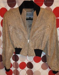 Michael Hoban North Beach Leather Cropped Cheetah Leather Jacket Small