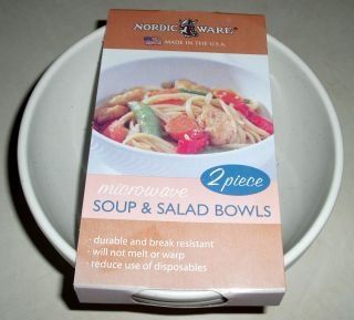 Nordic Ware Microwave Soup Salad Bowls Set of 2 NEW IN PACKAGE Made in