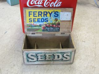 Antique Seed Box Country Store Display Ferry s Lithograph Label Ferrys