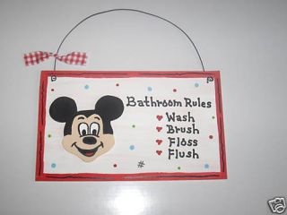 Wood Craft Mickey Mouse Bathroom Wall Hanging Cute