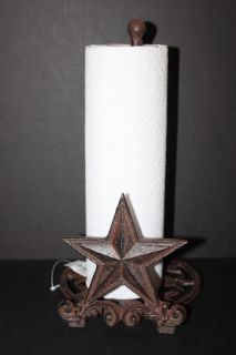 STAR PAPER TOWEL HOLDER DISTRESSED WROUGHT IRON WESTERN STAR