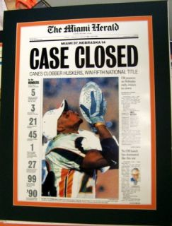 Miami Hurricanes 2001 National Champions Herald Print