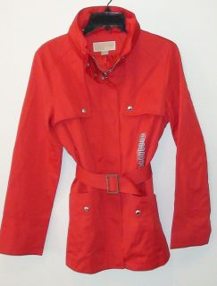 Michael Kors RED TRENCH Hood Belt Pockets Lined Rain Spring Travel