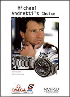 Speedmaster Watch Print AD Michael Andretti Collectible Advertising