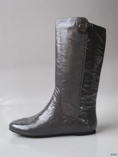 New $499 Marc Jacobs Logo Stud Gray Patent Leather Flat Boots