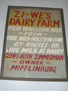 Lettered Sign Zi Wes Dairy Farm Mifflinburg Holstein Cows in Frame