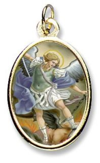 Saint St Michael Gold Plate Medal Pendant Religious Icon Catholic