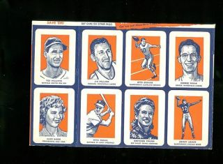 1952 Wheaties Uncut 8 Card Sheet Ted Williams Mikan