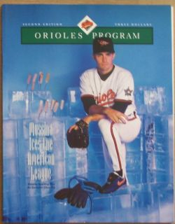 Orioles vs Blue Jays 1993 Oroles Program Mike Mussina