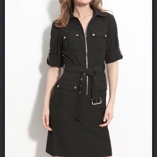 Michael Michael Kors Black Belted Dress $120 Sz Petite Large